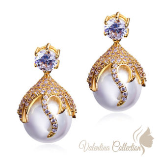 Pearl And Zirconia Earrings - Pearl Earrings, Zirconia earrings, Drop Earrings, Huge Sale - up to 80% off